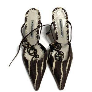 Manolo Blahnik Brown Animal Print Heel Pumps
